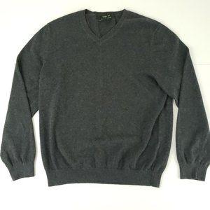 Eddie Bauer Cotton Cashmere Gray V Neck Sweater